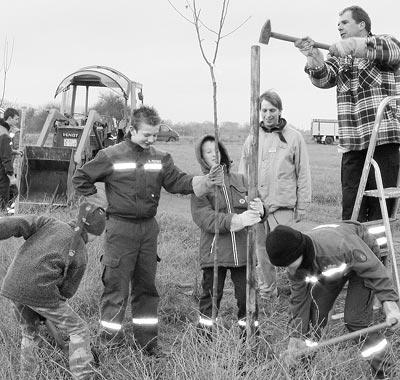Landschaftspflege in Leese: 42 Apfelbäume pflanzten Mitglieder der Jugendfeuerwehr am Radwanderweg unter Aufsicht von Jörg Brüning (rechts oben).Foto: Bernd Meyer