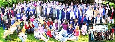 """Ein halbes Dorf jubelt: Gestern Abend trafen sich an die 200 Brokeloher hinter der Alten Schule zu einer spontanen """"Siegesfeier"""" – auf dem kleinen Bild der Arbeitskreis  vor dem frisch produzierten """"Sieger""""-Transparent.Foto: Bernard"""