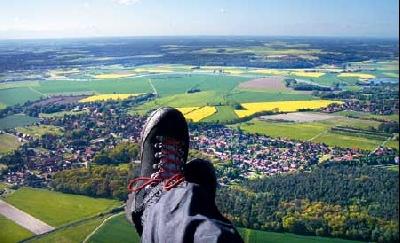Gleitflug über Estorf, vom Piloten in rund 450 Metern selbst fotografiert. Foto: Privat