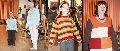Bilder von links nach rechts: Aus der Restwolle einer eleganten Jacke wurde ein witziger Überwurf plus Stirnband für Mädchen. Henrike zeigt, wie pfiffig solch ein Pulli sein kann. Patchwork mal ganz anders – als Damenpullover. Foto: Reckleben-Meyer