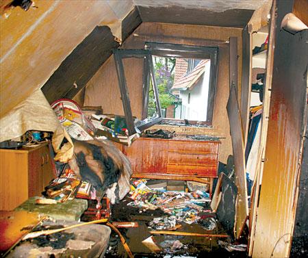 Das Feuer zerstörte die Wohnung in Husum